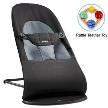 Baby Bjorn 005022US Bouncer Balance Soft Cotton - Black Dark Gray with Rattle Te