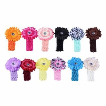 Bundle Monster New 12pc Daisy Flower Clip Crochet Baby Headbands Hair Clips Set