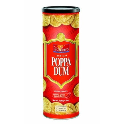 Truly Indian Red Chilli Poppadums, 4.2-Ounce Cans (Pack of 6)