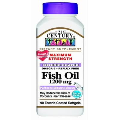 21st Century Fish Oil 1200 mg Enteric Coated Softgels, 90 CT (PACK OF 2)