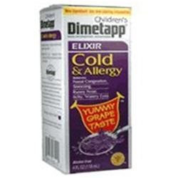 Dimetapp Elixir Dimetapp Childrens Cold And Allergy Relief Syrup, Grape Flavor - 4 Oz