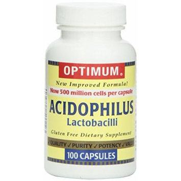 Optimum Acidophilus Lactobacilli Capsules, 100 Count Pack of 12