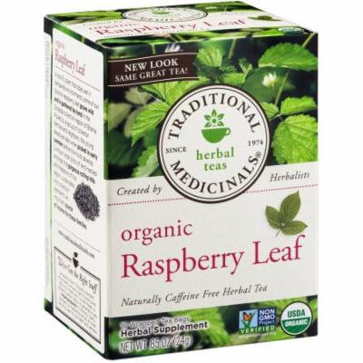 Traditional Medicinals Organic Raspberry Leaf Herbal Supplement Tea, 16 count, .85 oz, (Pack of 3)