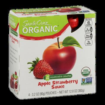 Santa Cruz Organic Apple Strawberry Sauce Squeezable Pouches - 4 CT