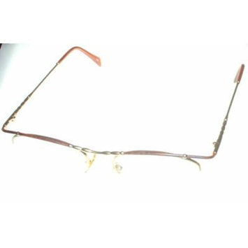 Bob Mackie Modified Oval Rimless Unisex Matt Gold Tortoise Eyewear Frame BM 742