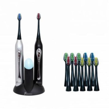 Dual Handle Ultra High Powered Sonic Electric Toothbrush with Dock Charger, 12 Brush Heads & More!-Black and Silver