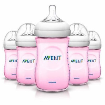Philips Avent BPA Free Natural Pink Baby Bottles, 9 Ounce, 5 Pack