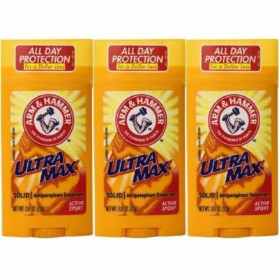 Arm and Hammer Ultra Max Solid Antiperspirant Deodorant Active Sport 2.6 oz. (Pack of 3)