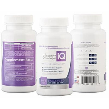 Sleep iQ: All-Natural Immediate & Sustained Release Sleep Aid for Restorative & Restful Sleep - 60 tablets