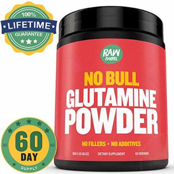 END OF SUMMER SALE - Raw Barrel's - Pure L Glutamine Powder - unflavored - SEE RESULTS OR YOUR MONEY BACK - 300g 60 servings - with *FREE* digital guide