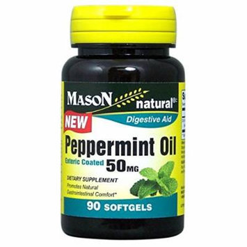 Mason Natural Peppermint Oil Enteric Coated Soft Gels, 50 mg, 90 Count Pack of 2