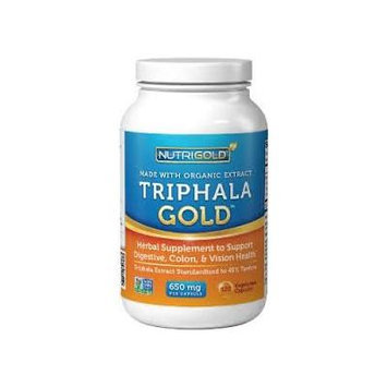Organic Triphala GOLD 650mg 120 veg. capsules (Organic Triphala Extract for Detox, Cleansing, and Weight-Loss) + Complimentary Vitamin E Moisurizing Lip Balm
