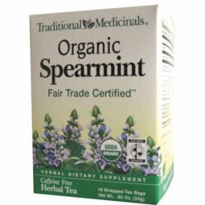 Traditional Medicinals Organic Spearmint Herbal Supplement Tea, 16 count, .85 oz, (Pack of 3)