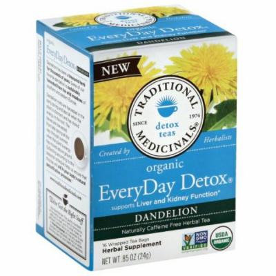 Traditional Medicinal Organic Every Day Detox Dandelion Tea, 16 count, (Pack of 6)