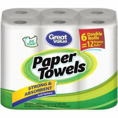 Great Value Big Sheet Double Roll Paper Towels, White, 96 sheets, 6 rolls