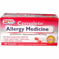 Complete Allergy Medicine (Diphenhydramine HCl 25mg) 100 ea