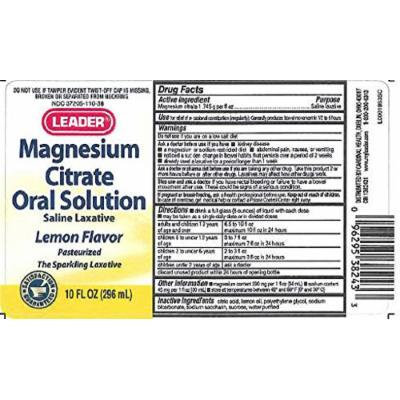 Leader Magnesium Citrate Liquid Lemon Flavor 10 oz per Bottle (3 Bottles)