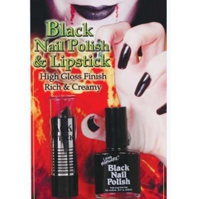 Gothic Vampire Black Nail Polish and Lipstick