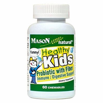 Mason Natural Healthy Kids Probiotic with Fiber, 60 Count Per Bottle (3 Bottles)