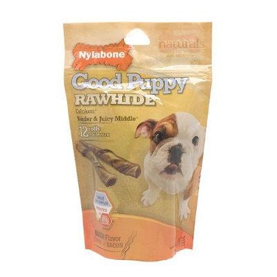 Nylabone Rawhide Bacon Flavored Roll Puppy Dog Treat Bone ,12 Rolls (7.4 oz )