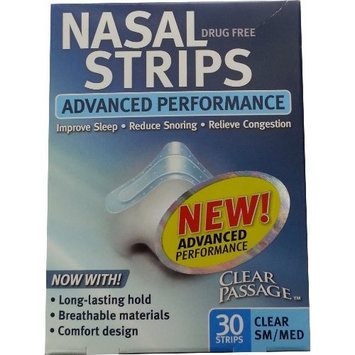 Clear Passage Drug Free Nasal Strips, Medium, Clear, 30-Count
