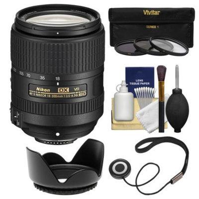 Nikon 18-300mm f/3.5-6.3G VR DX ED AF-S Nikkor-Zoom Lens with 3 UV/CPL/ND8 Filters + Hood + Kit for D3200, D3300, D5200, D5300, D7000, D7100 Cameras