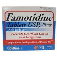 GOLDLINE LABORATORIES Famotidine Tablets 10 Mg For relief of heartburn - 70 Ea