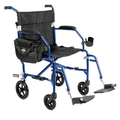 Medline Freedom 2 Ultra-Lightweight Transport Chair, Blue, 1 ea