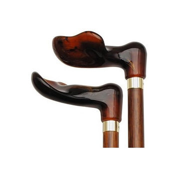 Harvy Cherry Palm Grip Cane With Fashionable Amber Handle -Affordable Gift! Item #DHAR-9787100