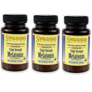 Triple Strength Melatonin 10mg - 3 Bottles each of 60 Capsules Made in USA by Swanson Ultra