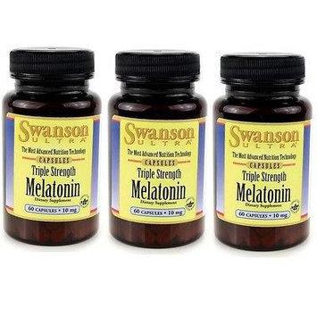 Triple Strength Melatonin 10mg - 3 Bottles each of 60 Capsules Made in USA by Swanson Ultra
