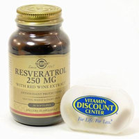 Bundle - 2 Items: 1 Bottle of Resveratrol 250 mg By Solgar - 30 Softgels and 1 VDC Pill Box