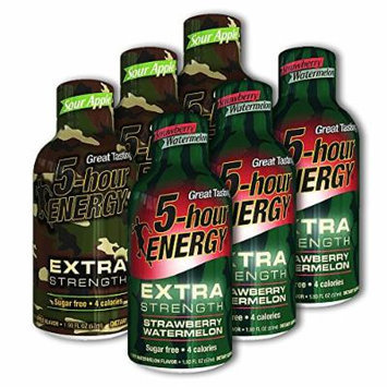 5 Hour Energy, 12 Extra Strength Sour Apple + 12 Extra Strength Strawberry Watermelon, 24 Count