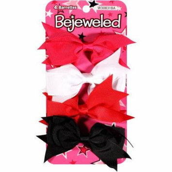 Bejeweled Bow Barrettes, 4 count