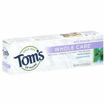 Tom's of Maine Whole Care Peppermint Fluoride Toothpaste, 4.7 oz, (Pack of 6)