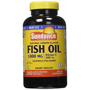 Sundance Omega-3 Lem Fish Oil 1000 mg, Natural Lemon Flavor, 200 Count