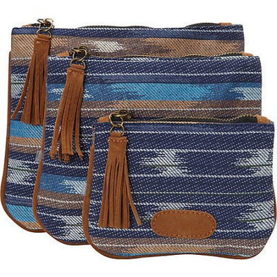 Nu-g nu G Aztec Print with Fringe 3 Pack Pouch Blue - nu G Ladies Cosmetic Bags