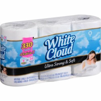 White Cloud Ultra Strong ; Soft Bath Tissue, 6 Mega Toilet Paper Rolls, 2-Ply Toilet Paper, 330 Sheets