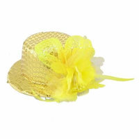 Yellow Mini Top Hat Flower Feather Decor Hair Clip for Lady