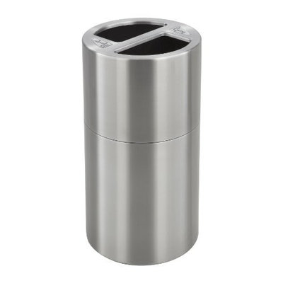 Safco Products Dual Bin Recycling Receptacle, Stainless Steel, 9931SS