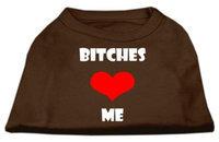 Ahi Bitches Love Me Screen Print Shirts Brown XS (8)