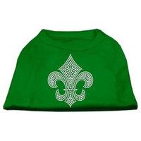 Ahi Silver Fleur de Lis Rhinestone Shirts Emerald Green Lg (14)