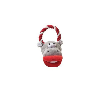 Ethical Plush Smoochers Dog Toy with Tug Assorted Faces, 10-Inch