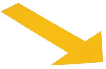 Mighty Line Industrial Floor Tape Markers (Arrow, Yellow) [PK/50]. Model: ARROW10Y
