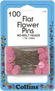 W H Collins Inc. Dritz 100/Pkg Flower Pins Pnk Flat - W H COLLINS INC.