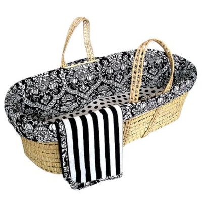 Sleeping Partners Home Fashions cmbapc120 Black Damask Moses Basket