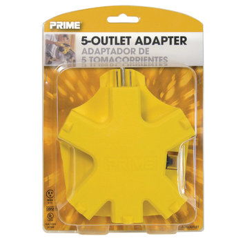 Prime Wire 5 Outlet Adapter With Circuit Breaker, Yellow