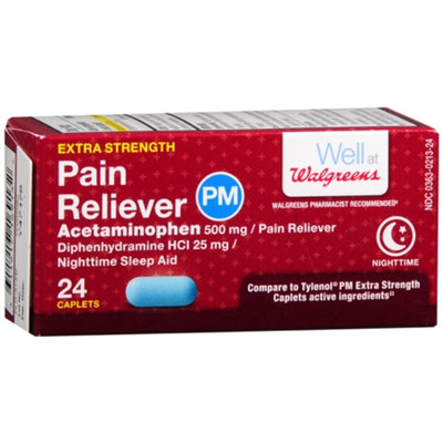 Walgreens Pain Reliever PM Extra Strength, Caplets, 24 ea