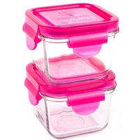 Wean Green Snack Cubes 7oz/210ml Baby Food Glass Containers - Raspberry (Set of 2)