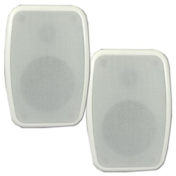Theater Solutions TS525ODW Indoor or Outdoor Weatherproof HD Mountable White Speaker Pair